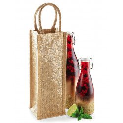W433 - Shimmer Jute Bottle Bag