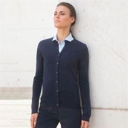 HB762 - Cardigan pour femme avec col ras de cou en acrylique à toucher cachemire
